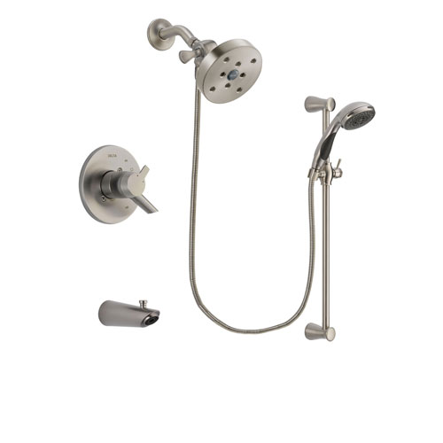 Delta Compel Stainless Steel Finish Dual Control Tub and Shower Faucet System Package with 5-1/2 inch Shower Head and Handheld Shower Spray with Slide Bar Includes Rough-in Valve and Tub Spout DSP1639V