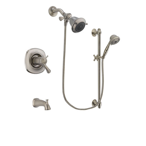 Delta Addison Stainless Steel Finish Thermostatic Tub and Shower Faucet System Package with Shower Head and 7-Spray Handheld Shower with Slide Bar Includes Rough-in Valve and Tub Spout DSP1655V