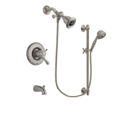 Delta Leland Stainless Steel Finish Thermostatic Tub and Shower Faucet System Package with Water Efficient Showerhead and 7-Spray Handheld Shower with Slide Bar Includes Rough-in Valve and Tub Spout DSP1687V