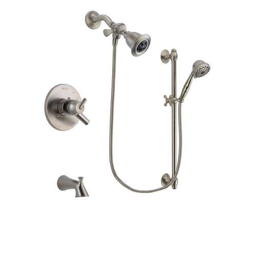 Delta Trinsic Stainless Steel Finish Dual Control Tub and Shower Faucet System Package with Water Efficient Showerhead and 7-Spray Handheld Shower with Slide Bar Includes Rough-in Valve and Tub Spout DSP1705V