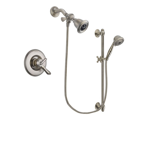 Delta Linden Stainless Steel Finish Dual Control Shower Faucet System Package with Water Efficient Showerhead and 7-Spray Handheld Shower with Slide Bar Includes Rough-in Valve DSP1714V