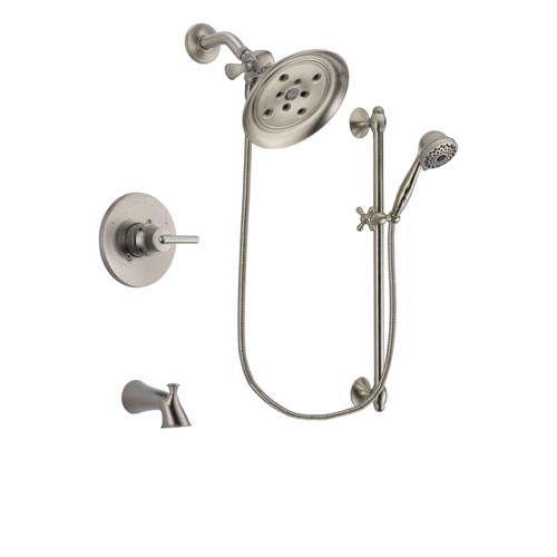 Delta Trinsic Stainless Steel Finish Tub and Shower Faucet System Package with Large Rain Showerhead and 7-Spray Handheld Shower with Slide Bar Includes Rough-in Valve and Tub Spout DSP1729V