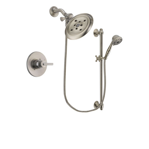 Delta Trinsic Stainless Steel Finish Shower Faucet System Package with Large Rain Showerhead and 7-Spray Handheld Shower with Slide Bar Includes Rough-in Valve DSP1730V