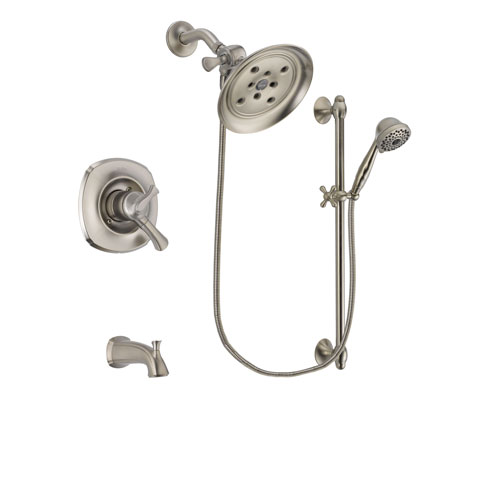 Delta Addison Stainless Steel Finish Dual Control Tub and Shower Faucet System Package with Large Rain Showerhead and 7-Spray Handheld Shower with Slide Bar Includes Rough-in Valve and Tub Spout DSP1745V