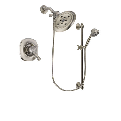 Delta Addison Stainless Steel Finish Dual Control Shower Faucet System Package with Large Rain Showerhead and 7-Spray Handheld Shower with Slide Bar Includes Rough-in Valve DSP1746V