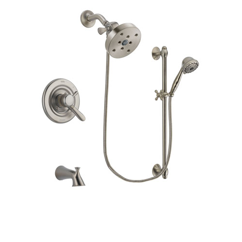 Delta Lahara Stainless Steel Finish Dual Control Tub and Shower Faucet System Package with 5-1/2 inch Shower Head and 7-Spray Handheld Shower with Slide Bar Includes Rough-in Valve and Tub Spout DSP1771V