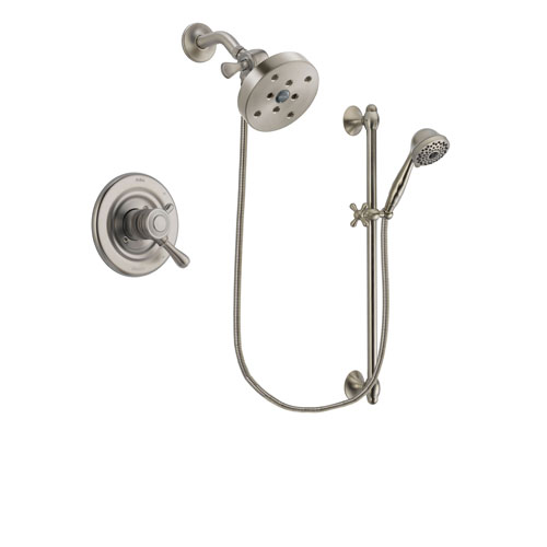 Delta Leland Stainless Steel Finish Dual Control Shower Faucet System Package with 5-1/2 inch Shower Head and 7-Spray Handheld Shower with Slide Bar Includes Rough-in Valve DSP1778V