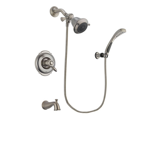 Delta Victorian Stainless Steel Finish Thermostatic Tub and Shower Faucet System Package with Shower Head and Wall Mounted Handshower Includes Rough-in Valve and Tub Spout DSP1787V