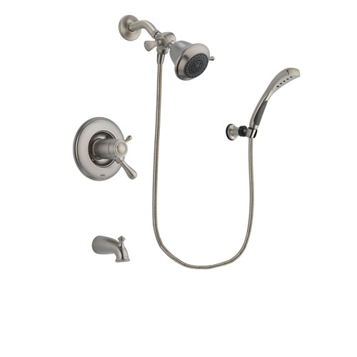 Delta Leland Stainless Steel Finish Thermostatic Tub and Shower Faucet System Package with Shower Head and Wall Mounted Handshower Includes Rough-in Valve and Tub Spout DSP1789V