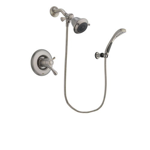 Delta Leland Stainless Steel Finish Thermostatic Shower Faucet System Package with Shower Head and Wall Mounted Handshower Includes Rough-in Valve DSP1790V