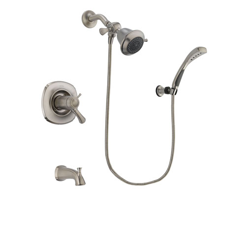 Delta Addison Stainless Steel Finish Thermostatic Tub and Shower Faucet System Package with Shower Head and Wall Mounted Handshower Includes Rough-in Valve and Tub Spout DSP1791V