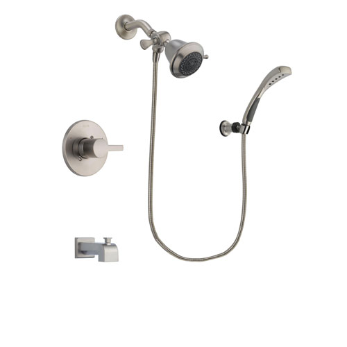 Delta Compel Stainless Steel Finish Tub and Shower Faucet System Package with Shower Head and Wall Mounted Handshower Includes Rough-in Valve and Tub Spout DSP1799V