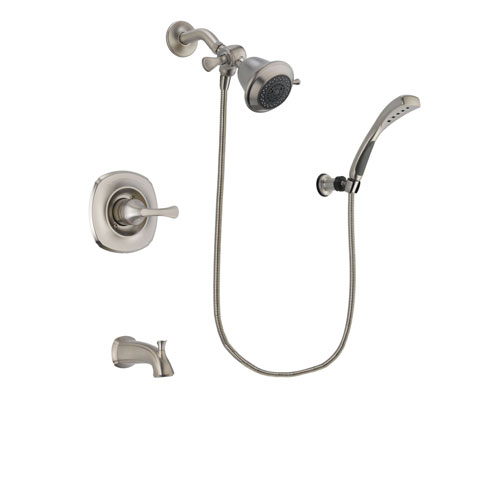 Delta Addison Stainless Steel Finish Tub and Shower Faucet System Package with Shower Head and Wall Mounted Handshower Includes Rough-in Valve and Tub Spout DSP1801V