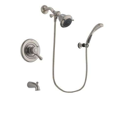 Delta Leland Stainless Steel Finish Dual Control Tub and Shower Faucet System Package with Shower Head and Wall Mounted Handshower Includes Rough-in Valve and Tub Spout DSP1811V