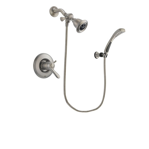 Delta Lahara Stainless Steel Finish Thermostatic Shower Faucet System Package with Water Efficient Showerhead and Wall Mounted Handshower Includes Rough-in Valve DSP1820V