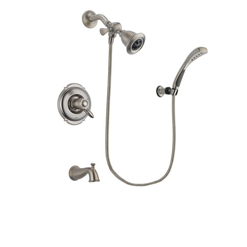 Delta Victorian Stainless Steel Finish Thermostatic Tub and Shower Faucet System Package with Water Efficient Showerhead and Wall Mounted Handshower Includes Rough-in Valve and Tub Spout DSP1821V