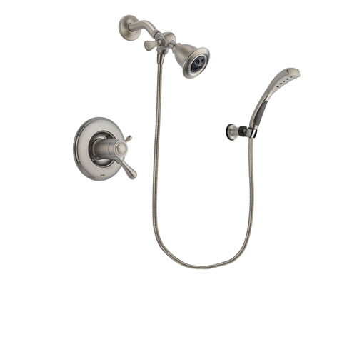 Delta Leland Stainless Steel Finish Thermostatic Shower Faucet System Package with Water Efficient Showerhead and Wall Mounted Handshower Includes Rough-in Valve DSP1824V