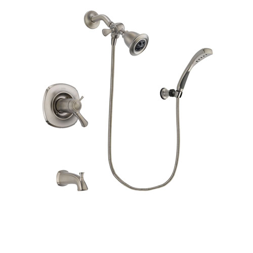 Delta Addison Stainless Steel Finish Thermostatic Tub and Shower Faucet System Package with Water Efficient Showerhead and Wall Mounted Handshower Includes Rough-in Valve and Tub Spout DSP1825V