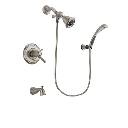 Delta Cassidy Stainless Steel Finish Thermostatic Tub and Shower Faucet System Package with Water Efficient Showerhead and Wall Mounted Handshower Includes Rough-in Valve and Tub Spout DSP1827V