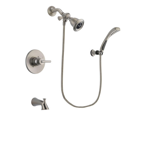 Delta Trinsic Stainless Steel Finish Tub and Shower Faucet System Package with Water Efficient Showerhead and Wall Mounted Handshower Includes Rough-in Valve and Tub Spout DSP1831V