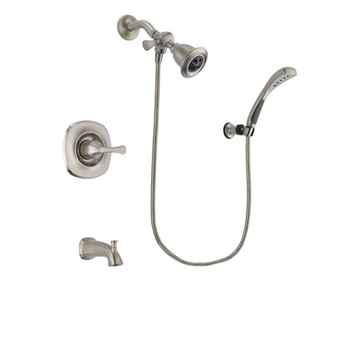 Delta Addison Stainless Steel Finish Tub and Shower Faucet System Package with Water Efficient Showerhead and Wall Mounted Handshower Includes Rough-in Valve and Tub Spout DSP1835V