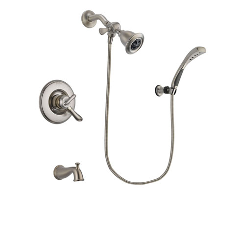 Delta Linden Stainless Steel Finish Dual Control Tub and Shower Faucet System Package with Water Efficient Showerhead and Wall Mounted Handshower Includes Rough-in Valve and Tub Spout DSP1849V