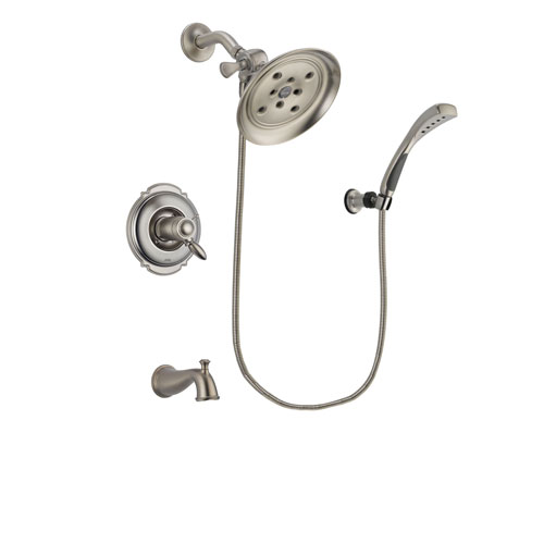 Delta Victorian Stainless Steel Finish Thermostatic Tub and Shower Faucet System Package with Large Rain Showerhead and Wall Mounted Handshower Includes Rough-in Valve and Tub Spout DSP1855V