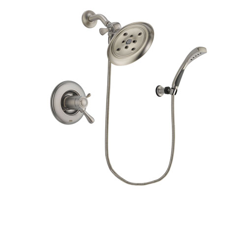 Delta Leland Stainless Steel Finish Thermostatic Shower Faucet System Package with Large Rain Showerhead and Wall Mounted Handshower Includes Rough-in Valve DSP1858V