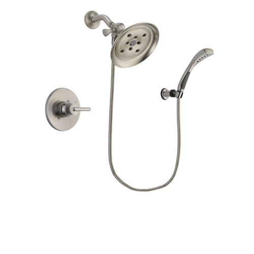 Delta Trinsic Stainless Steel Finish Shower Faucet System Package with Large Rain Showerhead and Wall Mounted Handshower Includes Rough-in Valve DSP1866V