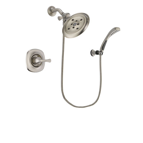 Delta Addison Stainless Steel Finish Shower Faucet System Package with Large Rain Showerhead and Wall Mounted Handshower Includes Rough-in Valve DSP1870V