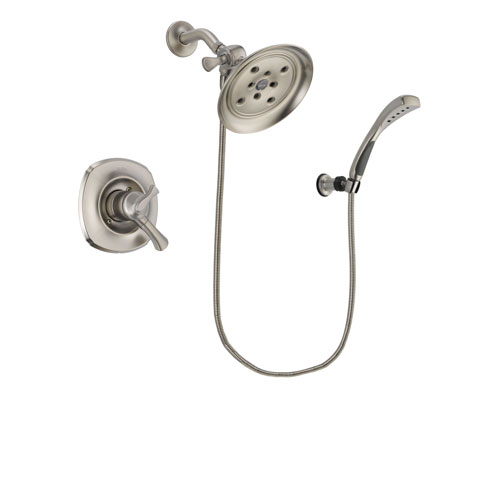 Delta Addison Stainless Steel Finish Dual Control Shower Faucet System Package with Large Rain Showerhead and Wall Mounted Handshower Includes Rough-in Valve DSP1882V