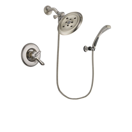 Delta Linden Stainless Steel Finish Dual Control Shower Faucet System Package with Large Rain Showerhead and Wall Mounted Handshower Includes Rough-in Valve DSP1884V