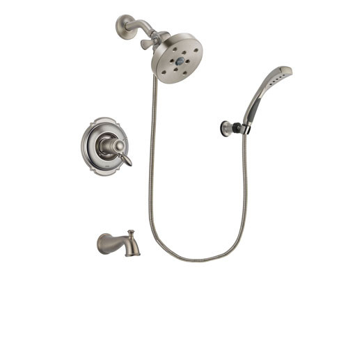 Delta Victorian Stainless Steel Finish Thermostatic Tub and Shower Faucet System Package with 5-1/2 inch Shower Head and Wall Mounted Handshower Includes Rough-in Valve and Tub Spout DSP1889V