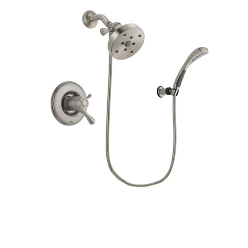 Delta Leland Stainless Steel Finish Thermostatic Shower Faucet System Package with 5-1/2 inch Shower Head and Wall Mounted Handshower Includes Rough-in Valve DSP1892V