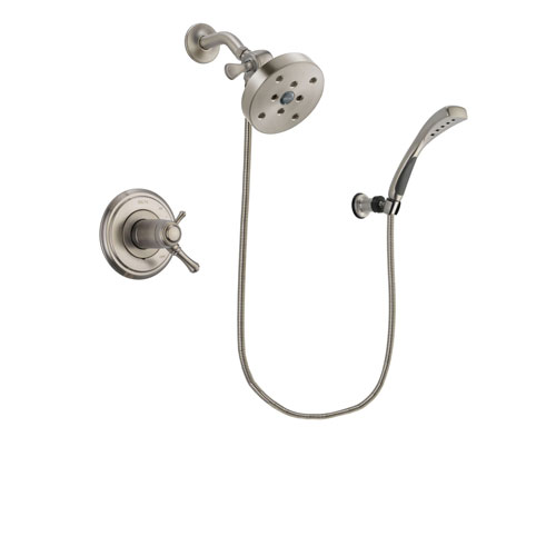 Delta Cassidy Stainless Steel Finish Thermostatic Shower Faucet System Package with 5-1/2 inch Shower Head and Wall Mounted Handshower Includes Rough-in Valve DSP1896V
