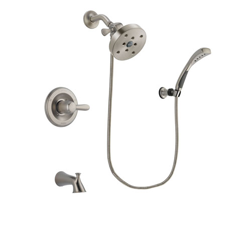 Delta Lahara Stainless Steel Finish Tub and Shower Faucet System Package with 5-1/2 inch Shower Head and Wall Mounted Handshower Includes Rough-in Valve and Tub Spout DSP1897V