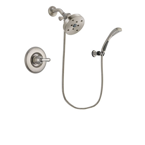 Delta Linden Stainless Steel Finish Shower Faucet System Package with 5-1/2 inch Shower Head and Wall Mounted Handshower Includes Rough-in Valve DSP1906V
