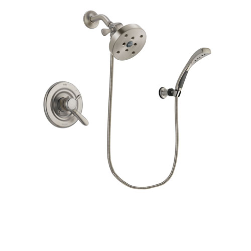 Delta Lahara Stainless Steel Finish Dual Control Shower Faucet System Package with 5-1/2 inch Shower Head and Wall Mounted Handshower Includes Rough-in Valve DSP1908V