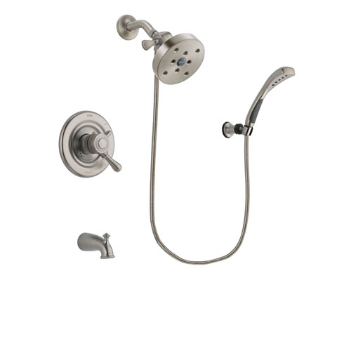 Delta Leland Stainless Steel Finish Dual Control Tub and Shower Faucet System Package with 5-1/2 inch Shower Head and Wall Mounted Handshower Includes Rough-in Valve and Tub Spout DSP1913V