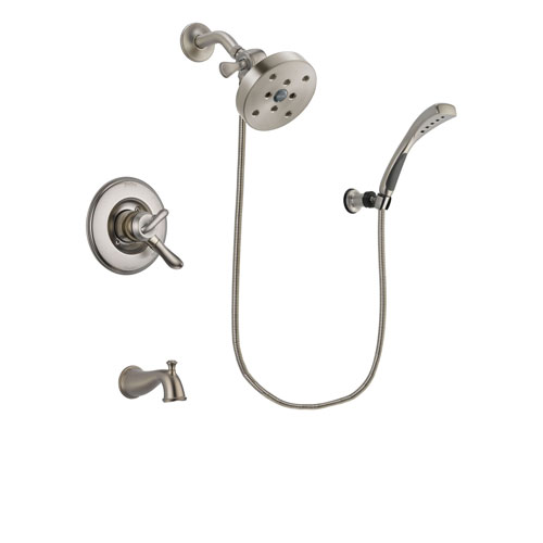 Delta Linden Stainless Steel Finish Dual Control Tub and Shower Faucet System Package with 5-1/2 inch Shower Head and Wall Mounted Handshower Includes Rough-in Valve and Tub Spout DSP1917V