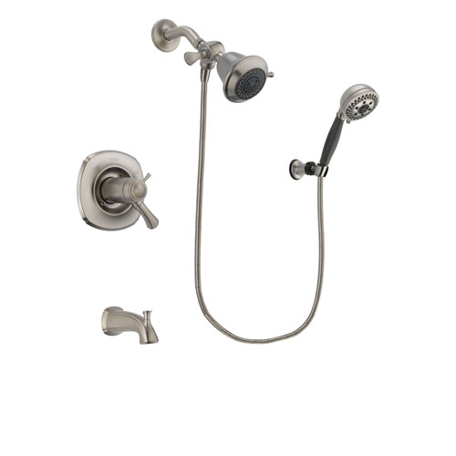 Delta Addison Stainless Steel Finish Thermostatic Tub and Shower Faucet System Package with Shower Head and 5-Setting Wall Mount Personal Handheld Shower Includes Rough-in Valve and Tub Spout DSP1927V