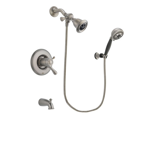 Delta Leland Stainless Steel Finish Thermostatic Tub and Shower Faucet System Package with Water Efficient Showerhead and 5-Setting Wall Mount Personal Handheld Shower Includes Rough-in Valve and Tub Spout DSP1959V