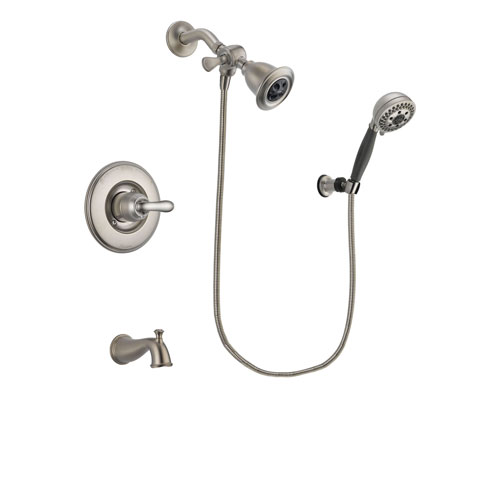 Delta Linden Stainless Steel Finish Tub and Shower Faucet System Package with Water Efficient Showerhead and 5-Setting Wall Mount Personal Handheld Shower Includes Rough-in Valve and Tub Spout DSP1973V