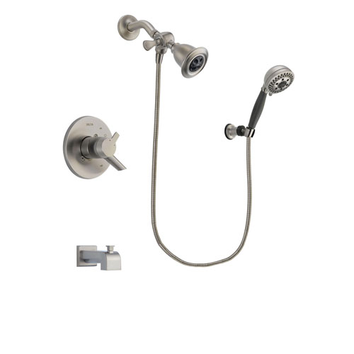 Delta Compel Stainless Steel Finish Dual Control Tub and Shower Faucet System Package with Water Efficient Showerhead and 5-Setting Wall Mount Personal Handheld Shower Includes Rough-in Valve and Tub Spout DSP1979V