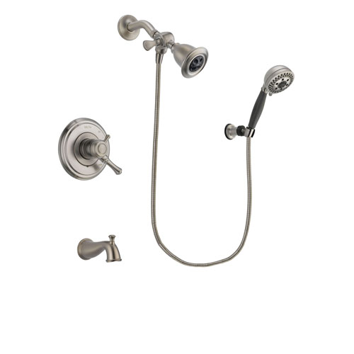 Delta Cassidy Stainless Steel Finish Dual Control Tub and Shower Faucet System Package with Water Efficient Showerhead and 5-Setting Wall Mount Personal Handheld Shower Includes Rough-in Valve and Tub Spout DSP1987V