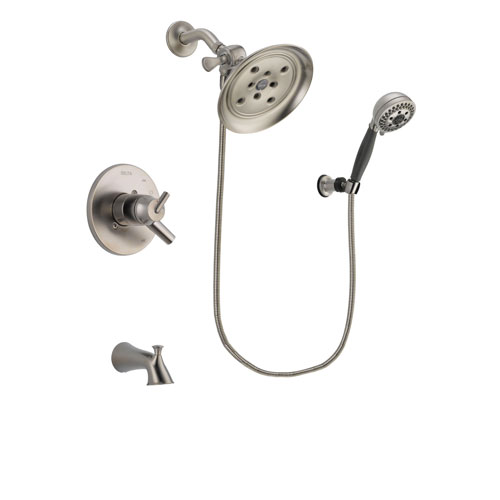 Delta Trinsic Stainless Steel Finish Dual Control Tub and Shower Faucet System Package with Large Rain Showerhead and 5-Setting Wall Mount Personal Handheld Shower Includes Rough-in Valve and Tub Spout DSP2011V