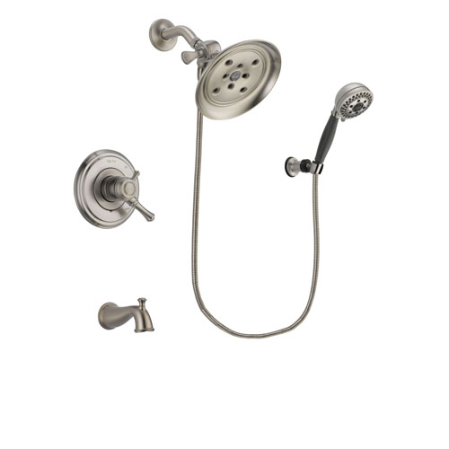 Delta Cassidy Stainless Steel Finish Dual Control Tub and Shower Faucet System Package with Large Rain Showerhead and 5-Setting Wall Mount Personal Handheld Shower Includes Rough-in Valve and Tub Spout DSP2021V