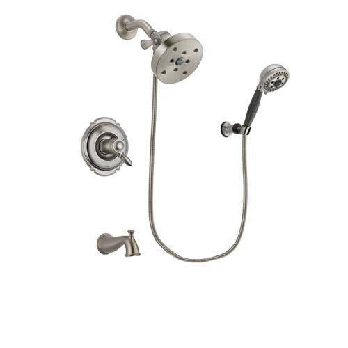 Delta Victorian Stainless Steel Finish Thermostatic Tub and Shower Faucet System Package with 5-1/2 inch Shower Head and 5-Setting Wall Mount Personal Handheld Shower Includes Rough-in Valve and Tub Spout DSP2025V