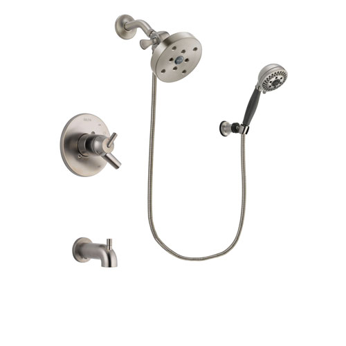 Delta Trinsic Stainless Steel Finish Dual Control Tub and Shower Faucet System Package with 5-1/2 inch Shower Head and 5-Setting Wall Mount Personal Handheld Shower Includes Rough-in Valve and Tub Spout DSP2045V