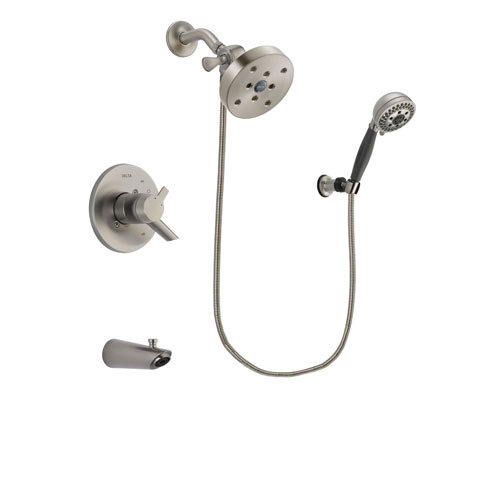 Delta Compel Stainless Steel Finish Dual Control Tub and Shower Faucet System Package with 5-1/2 inch Shower Head and 5-Setting Wall Mount Personal Handheld Shower Includes Rough-in Valve and Tub Spout DSP2047V